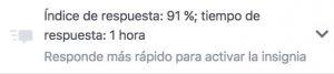 Indice de respuesta de Facebook